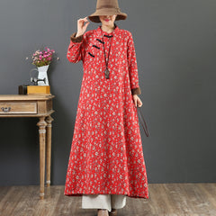 Women's Winter Cotton Linen Floral dress