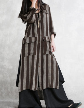Loose Coffee Striped Cotton Linen Long Coat For Women C11033