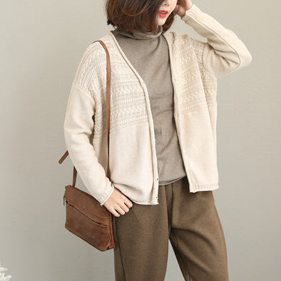 Beige Cute Short Knitted Coat Women Loose Tops Q2036