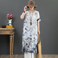 Women Vintage Blue Print Maxi Dresses Casual Linen Summer Outfits 7080
