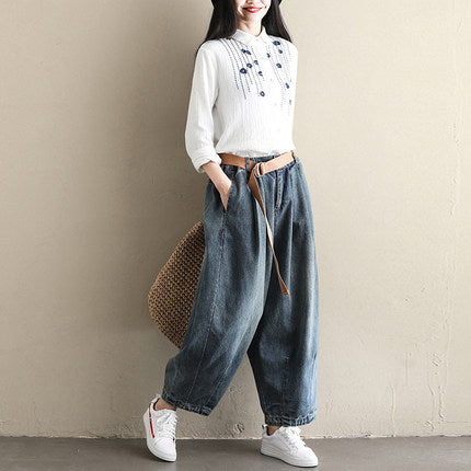 Loose Cowboy Harem Pants Women Casual Jeans K110