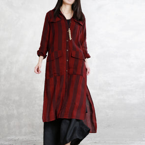 Loose Red Striped Cotton Linen Long Coat For Women C11034