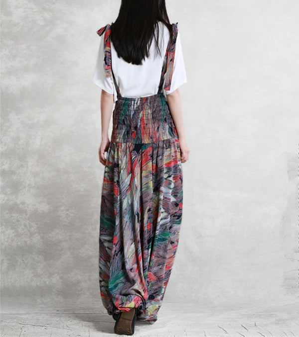 Women Loose Cotton Overalls Casual Multi Color Jumpsuits K29040