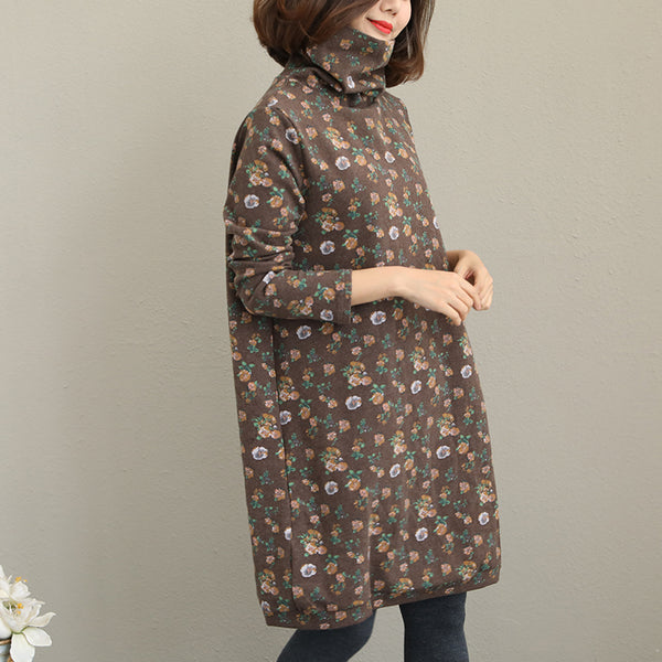 Vintage Coffee Floral High Neck Base Dresses For Women Q2012