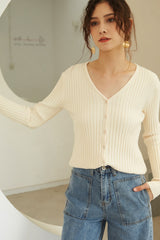 Women Solid Color V-Neck Button Front Cardigan Sweater
