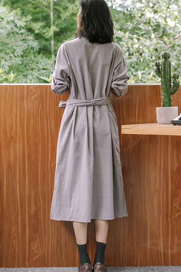 Women's Corduroy Side Slit Shirt Dresses