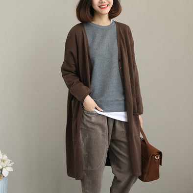 Women Loose Coffee Thick Cotton Knitted Coat Q2035
