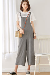 Vintage Linen Casual Women Overalls Loose Jumpsuits