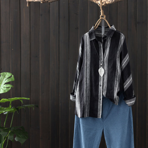 Spring Vintage Striped Loose Cotton Linen Shirt For Women S14016