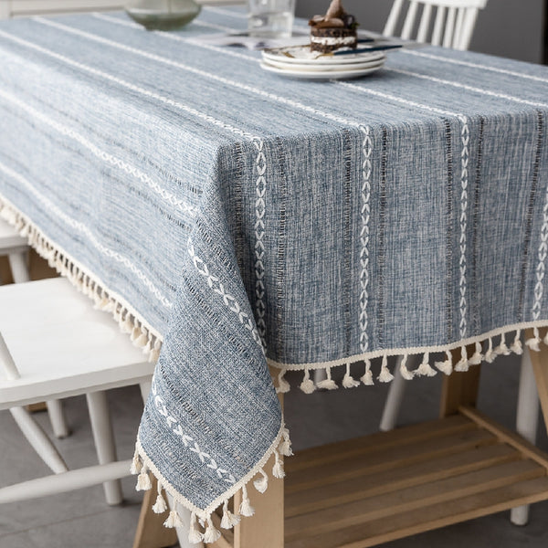 Linen Striped Tablecloth.Rectangular Linen Tablecloths.Large Tablecloth.Custom Made Tablecloth