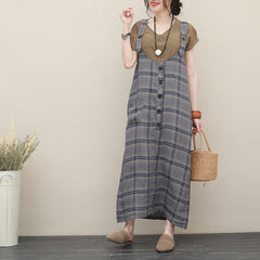 Women Loose Linen Strap Dresses Summer Loose Sundress Q2721