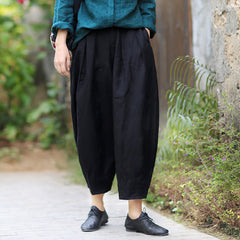 Women Casual Black Linen Loose Bloomers Pants