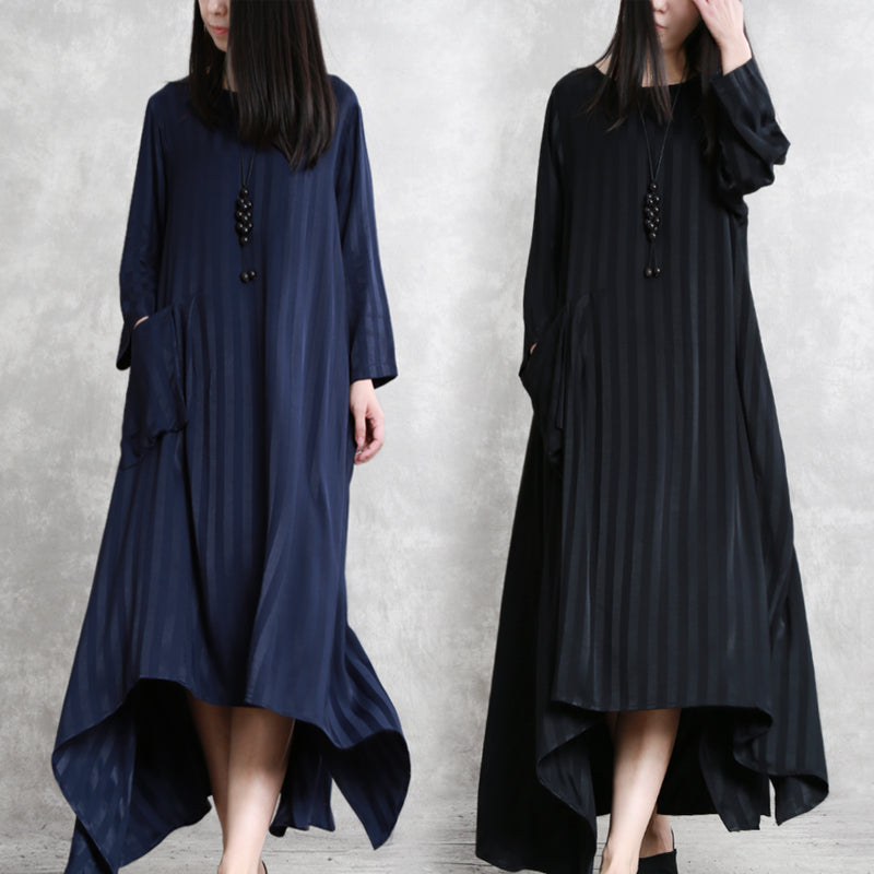 95e2835d6acd5 Loose Black And Blue Striped Simple Maxi Dresses For Women Q11033 ...