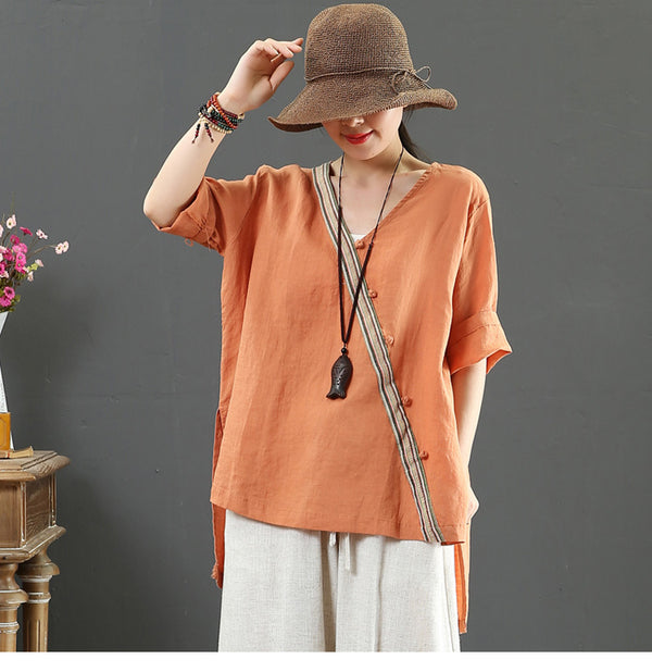 Vintage Pure Color Summer Linen Blouse Women Loose Cool Tops 7130