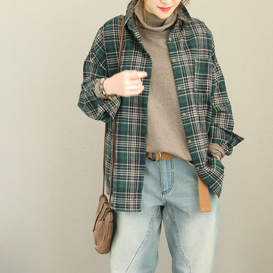 Loose Plaid Boyfriend Cotton Shirt Women Casual Blouse Q1868