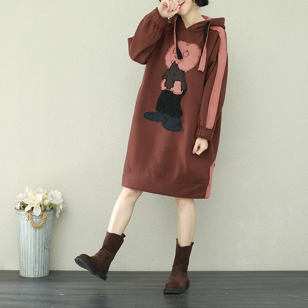 Brown Vintage Hoodie Casual Brushed Fleece Dresses For Women Q2181