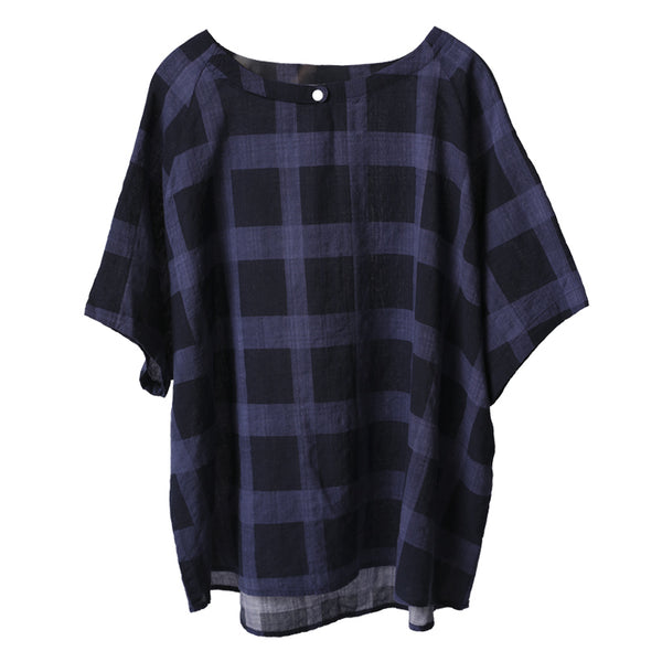Vintage Blue And Yellow Plaid Cotton Shirt Women Summer Blouse C9085