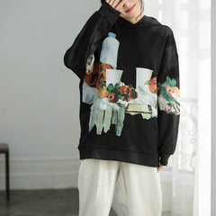 Black Hoodie Print Casual Cotton Fleece Women Spring Tops Q2178