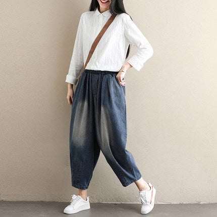 Women Loose Blue Cowboy Harem Pants High Waist Denim Trousers K108