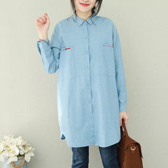 Casual Simple Blue Button Down Cotton Shirt Women Loose Tops Q2296