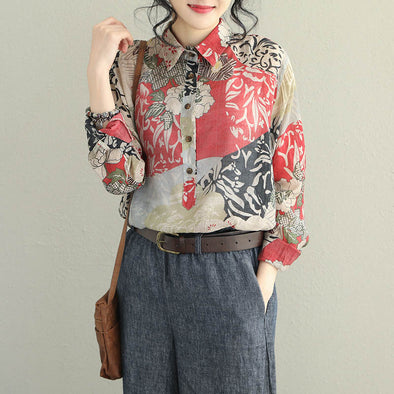 Elegant Vintage Loose Print Shirt Casual Women Blouse Q2056