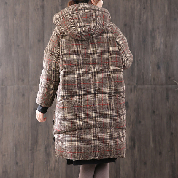 Women Winter Thickened Plaid Hooded Coat