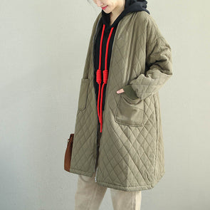 Casual Medium Length Cotton Coat Women Loose Outfits Q2062