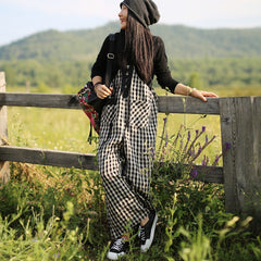 Women Vintage Linen Black And White Plaid Jumpsuits