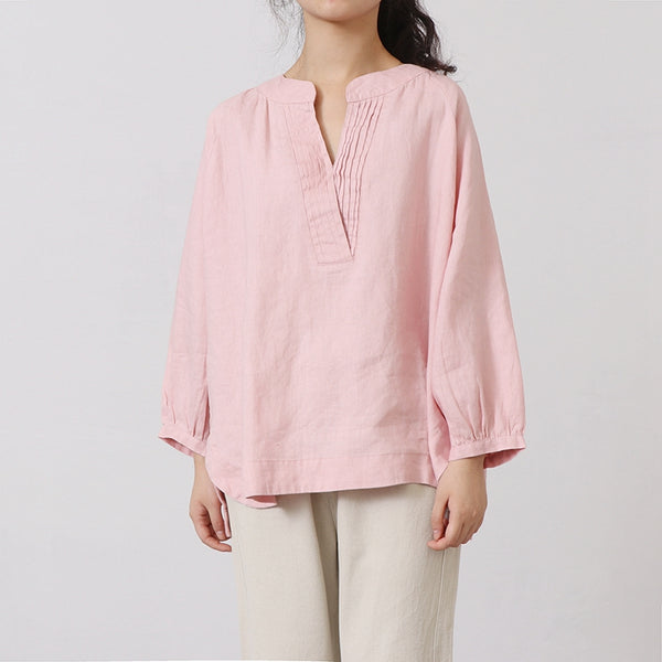 Cotton Linen Casual V Neck Shirt Women Tops
