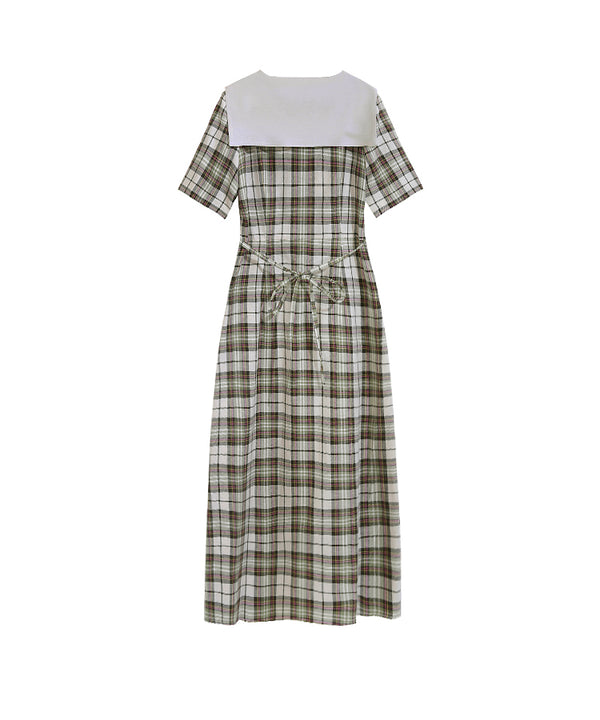 Women Vintage Plaid High Waist Summer Dresses Q4063