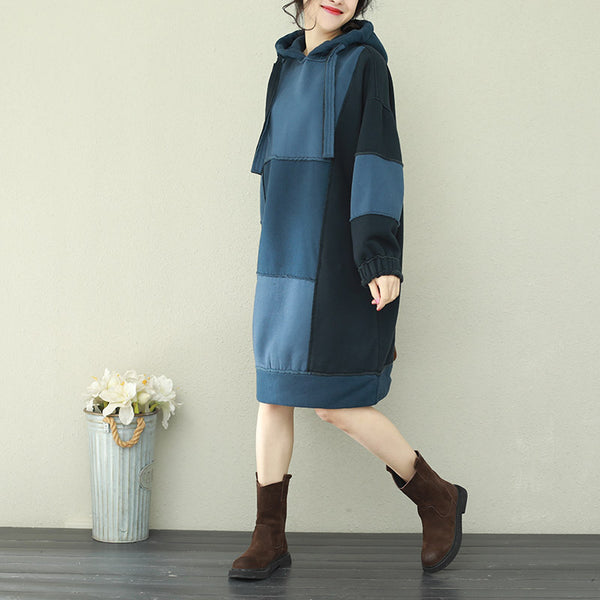 Blue Vintage Hoodie Loose Fleece Dresses For Women Q2182