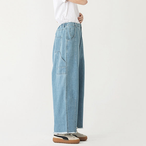 Women Light Blue Cotton Jeans With Wide Legs