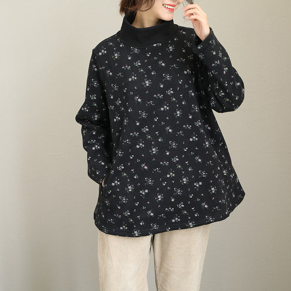 Coffee And Black High Neck Brushed Fleece For Women Q1983