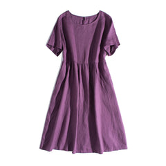 Simple Pure Color Linen Dresses Women Clothes