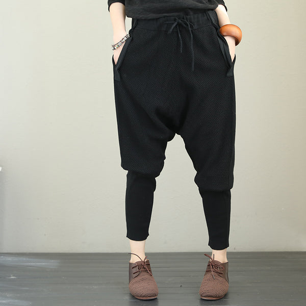 Casual 100% Cotton Harem Pants Women Loose Bootcut Q1871