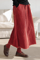Corduroy Mid-Length Skirt For Women Q91047