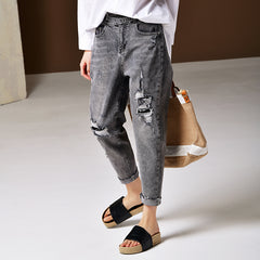 Korea Style Gray Cowboy Pants Women Casual Denim Trousers N3021