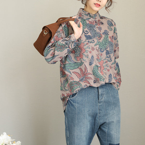 Elegant Gray Floral Print Corduroy Shirt Women Cute Tops Q1978