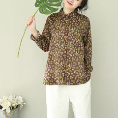 Vintage Coffee Print Loose Shirt Women Casual Tops Q2195