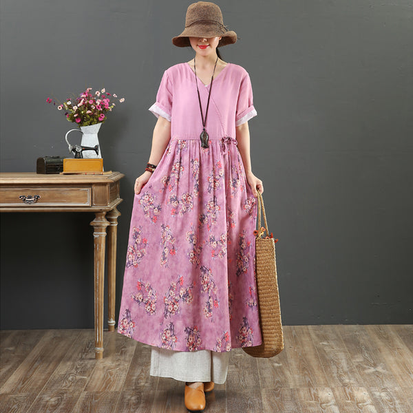 Women Pink And Green Floral Linen Maxi Dresses For Summer 7112