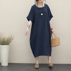Summer Casual Blue Cotton Dresses Women Loose Outfits Q2719