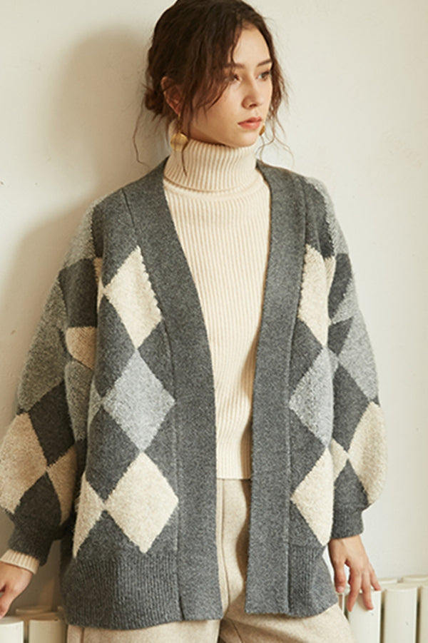 Women's Rhombus Plaid Patchwork Knit Sweater Coat