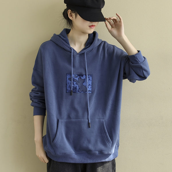 Women Blue Hoodie Casual Brushed Fleece