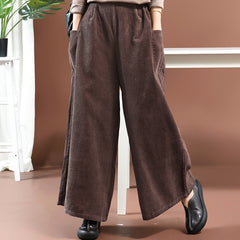 Women Loose Corduroy Wide Legs Pants
