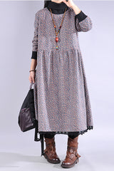 Winter Fashion Floral Loose Dress For Women