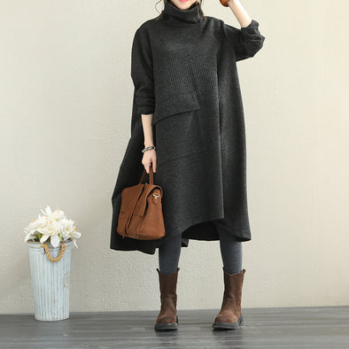Loose Black High Neck Base Dresses Women Casual Clothes Q1869