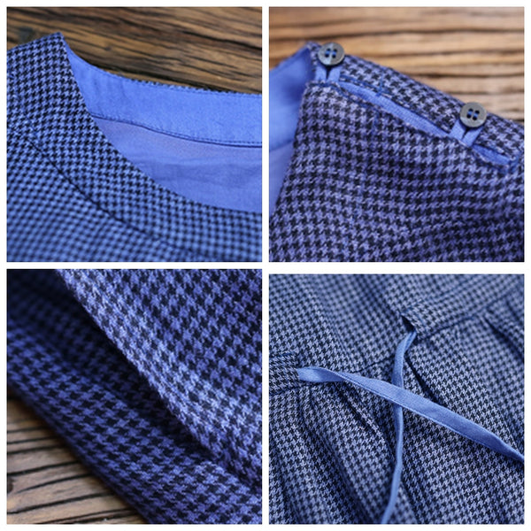 Women Linen Blue Checked Loose Drawstring Waist Dress