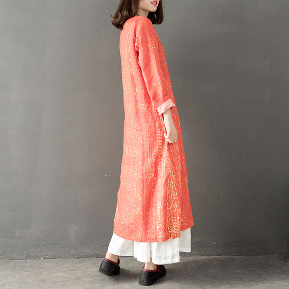 Blue And Orange Spring Linen Maxi Dresses For Women Q21019