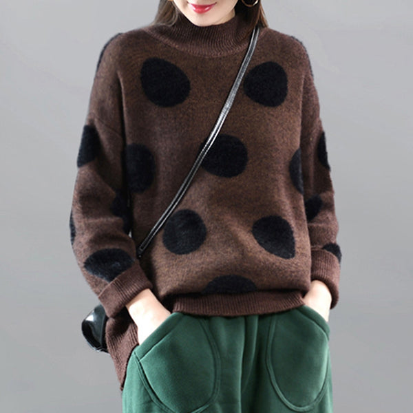 Retro Loose Polka Dot Half High Neck Women's Sweater