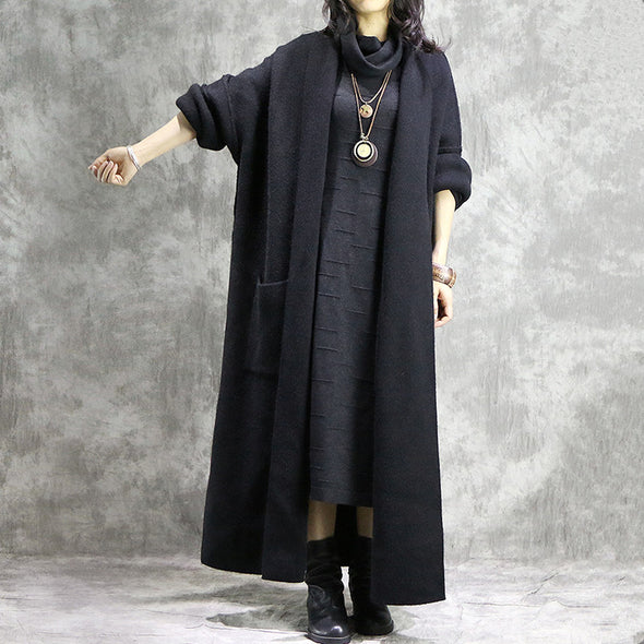 Black Loose Knitted Woolen Overcoat For Women C31121
